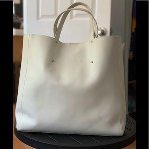Pulicati Saffiano White Leather Shopper Tote